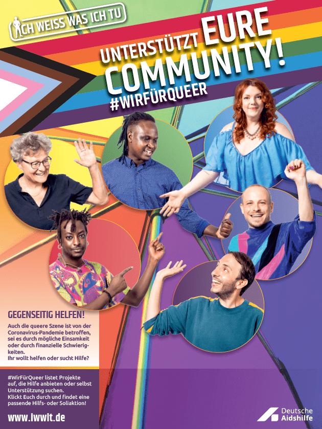 Die IWWIT-Printanzeige zur Kampagne #WirFürQueer mit 6 queeren Personen
