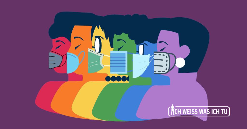 Grafik von 6 Personen, die eine Corona-Maske tragen, wobei jede Person in einer Farbe der Regenbogenfahne eingefärbt ist.