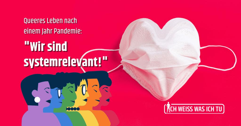 Eine Einwegmaske in Herzform auf rotem Hintergrund. Daneben 6 Personen, wobei jede Person in einer Farbe des Regenbogens dargestellt ist.