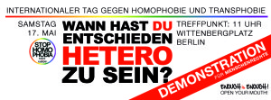 Demo gegen Homo- und Transphobie am 17. Mai in Berlin. (Foto: Enough is enough)