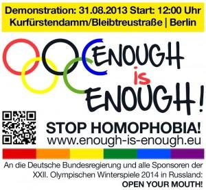 Auf zur Demo nach Berlin am Samstag, 31. August! (Abb.: Enough is Enough)