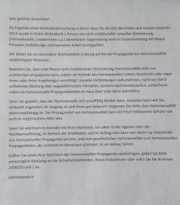Die deutsche Übersetzung des russischen Aushangs.