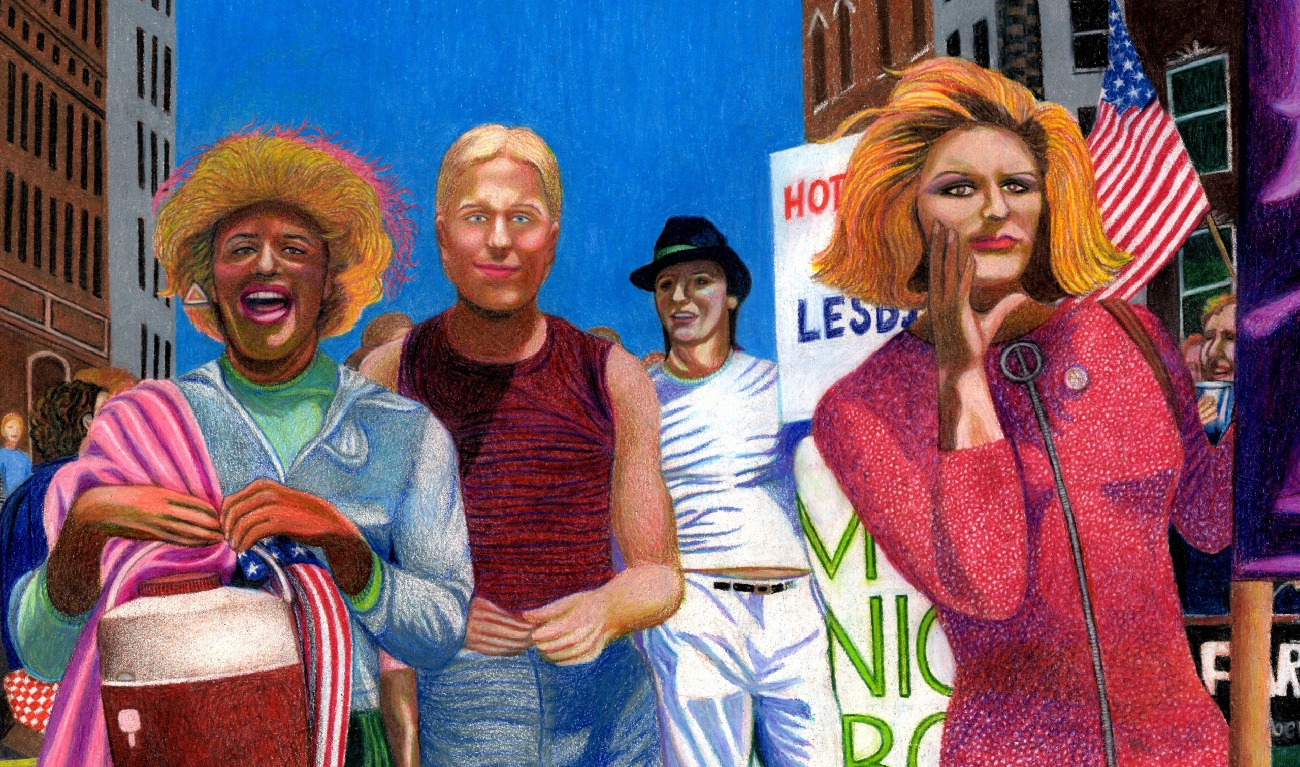 Marsha P. Johnson, Joseph Ratanski and Sylvia Rivera in the 1973 NYC Gay Pride Parade by Gary LeGault
